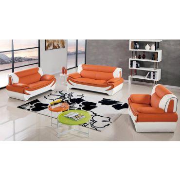 Sterling Orange Leather Modern Sofa Set