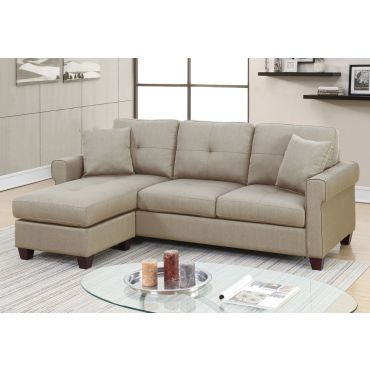 Stigall Compact Reversible Sectional,Stigall Beige Linen Reversible Sectional