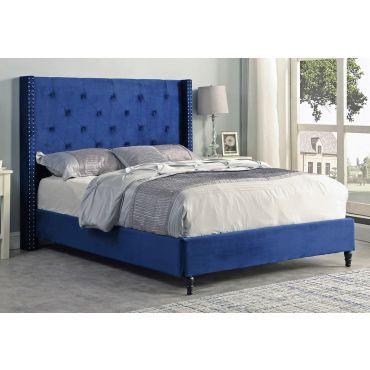 Stratus Blue Velvet Winged Headboard Bed