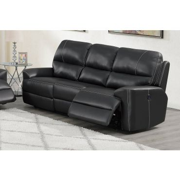 Talbot Black Leather Power Recliner Sofa