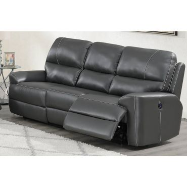 Talbot Grey Leather Power Recliner Sofa