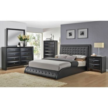 Talya Platform Black Leather Bed