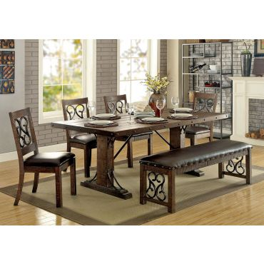 Tamilo Traditional Dining Table Set Rustic Finish