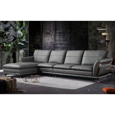 Tampa Modern Sectional Grey Top Grain Leather