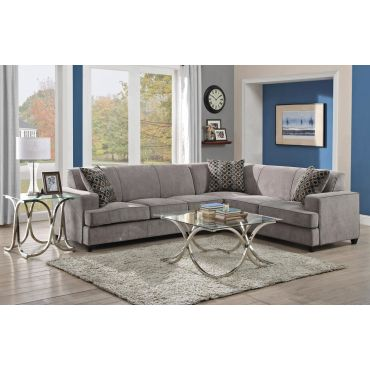 Tess Grey Fabric Sectional With Sleeper