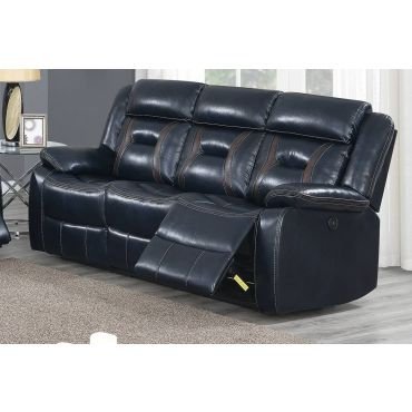 Theodore Ink Blue Leather Recliner Sofa