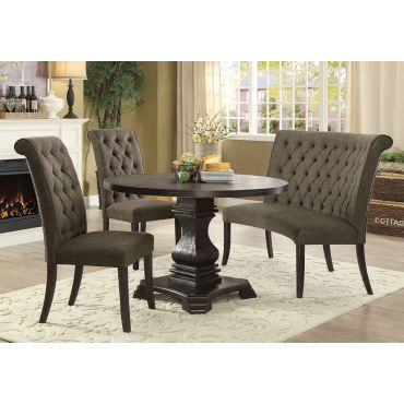 Timon Round Dining Table Set,Timon Round Table With Ivory Chairs,Timon Round Table Top
