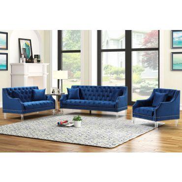 Tirrel Tufted Navy Blue Velvet Sofa Set
