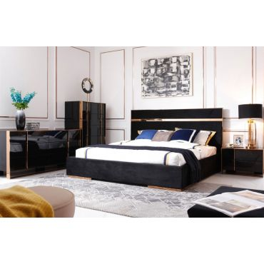 Toledo Black Velvet Bed Rosegold Accents