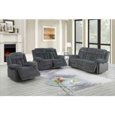 Tomas Grey Chenille Power Recliner Sofa Set