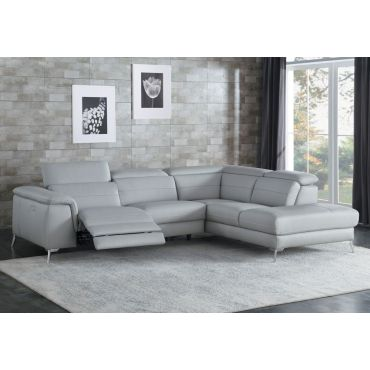 Trevor Grey Leather Power Recliner Sectional
