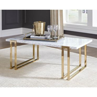 Trisha Italian Marble Coffee Table Gold Legs
