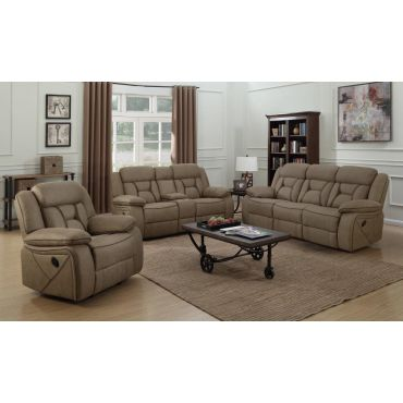 Troy Tan Leather Modern Recliner Sofa