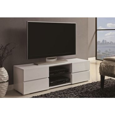 Finley White Lacquer Finish TV Stand