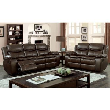 Tyler Brown Leather Recliner Sofa