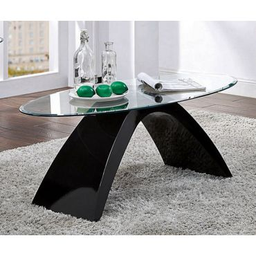 Tyra Black Lacquer Glass Top Coffee Table