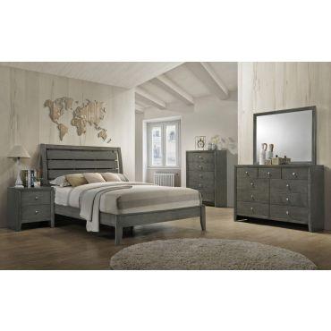 Tyron Modern Bed Gray Finish