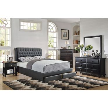Valentino Leather Platform Storage Bed