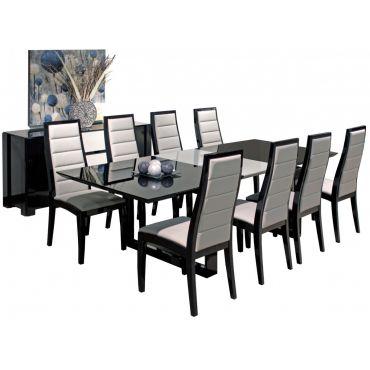 Vanguard Black Lacquer Dining Table Set