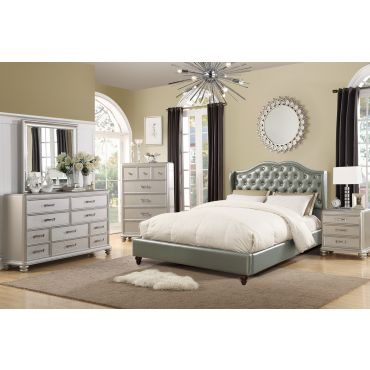 Varada Silver Leather Winged Platform Bed