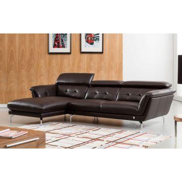 Varda Chocolate Leather Modern Sectional