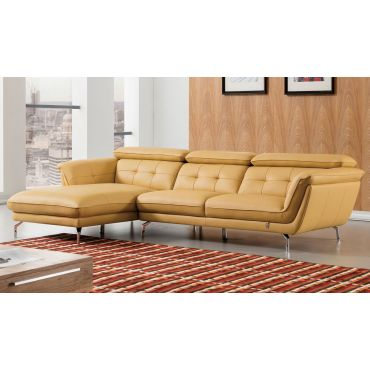 Varda Yellow Italian Leather Sectional