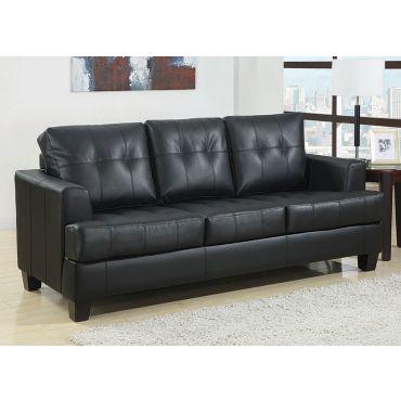 Varina Black Leather Sofa With Sleeper