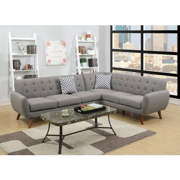 Varna Sectional Sofa Set Grey Linen
