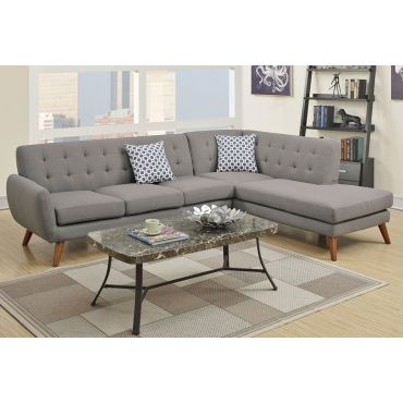 Varna Grey Linen Sectional Couch