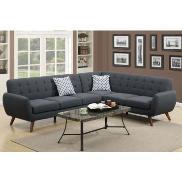 Varna Contemporary Sectional Black Linen