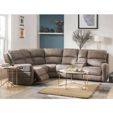 Vera Mocha Fabric Power Recliner Sectional