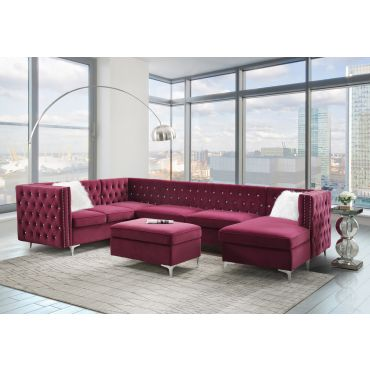Verity Burgundy Velvet Sectional Crystal Tufted