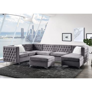 Verity U-Shape Sectional Grey Velvet