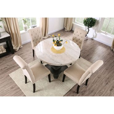 Vesper Marble Top Dining Table Set