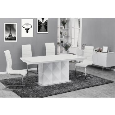 Vicente Modern Dining Table White Lacquer