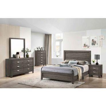 Vicky Rustic Grey Modern Bedroom Set
