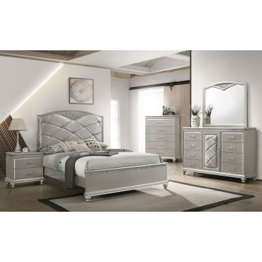 Vika Silver Finish Modern Bedroom