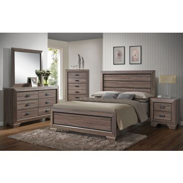 Vincent Rustic Grey Finish Bed Collection