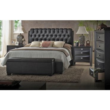 Viola Black Leather Button Tufted Bed