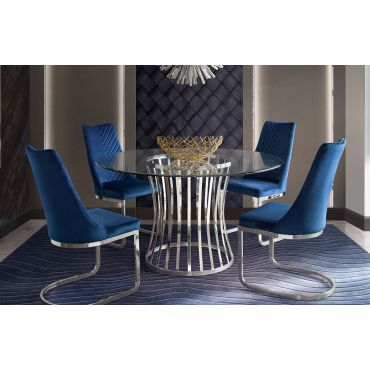 Vion Round Glass Dining Table Set