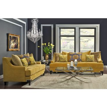 Viscotti Gold Fabric Classic Sofa