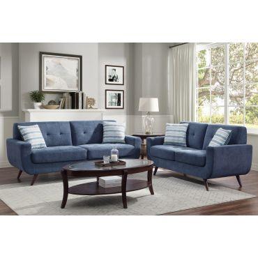 Viveca Blue Fabric Mid Century Modern Sofa Set