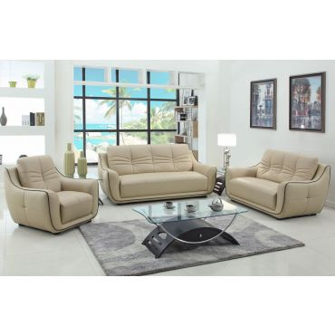 Volos Genuine Leather Modern Sofa Set