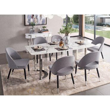 Vonnie Dining Table With Chrome Finish Base