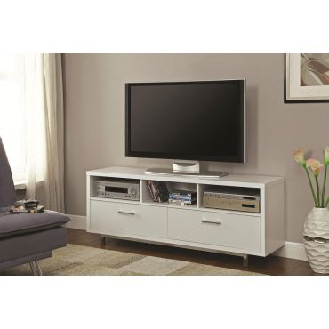 Kayla Modern White TV Stand With Storage