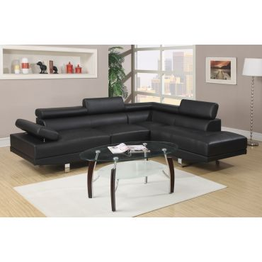 Warren Black Leather Modern Sectional