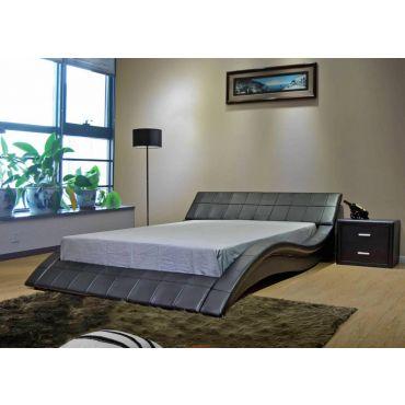 Wavy Black Leather Modern Platform Bed