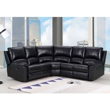 Waylon Recliner Sectional Black Leather