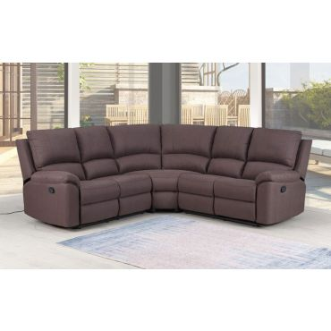 Waylon Recliner Sectional Brown Linen
