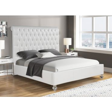 Wells Tufted Leather Bed Tall Headboard